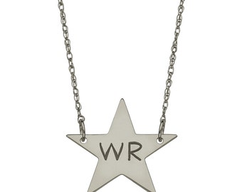 2 Initials Custom Engraved Star Necklace in Oxidized Sterling Silver, Engraved Jewelry  - Nameplate Necklace - Engraved Necklace