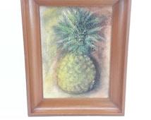 Vintage Pastel Chalk Still Life Pineapple Drawing, Framed Art, Still life Fruit, Home Office, Kitchen, Wall Decor. Gift Idea