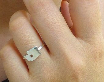 Sterling Silver Washington Ring / Custom Heart / Washington State Ring / Love Washington / Washington Map Ring / Washington Heart