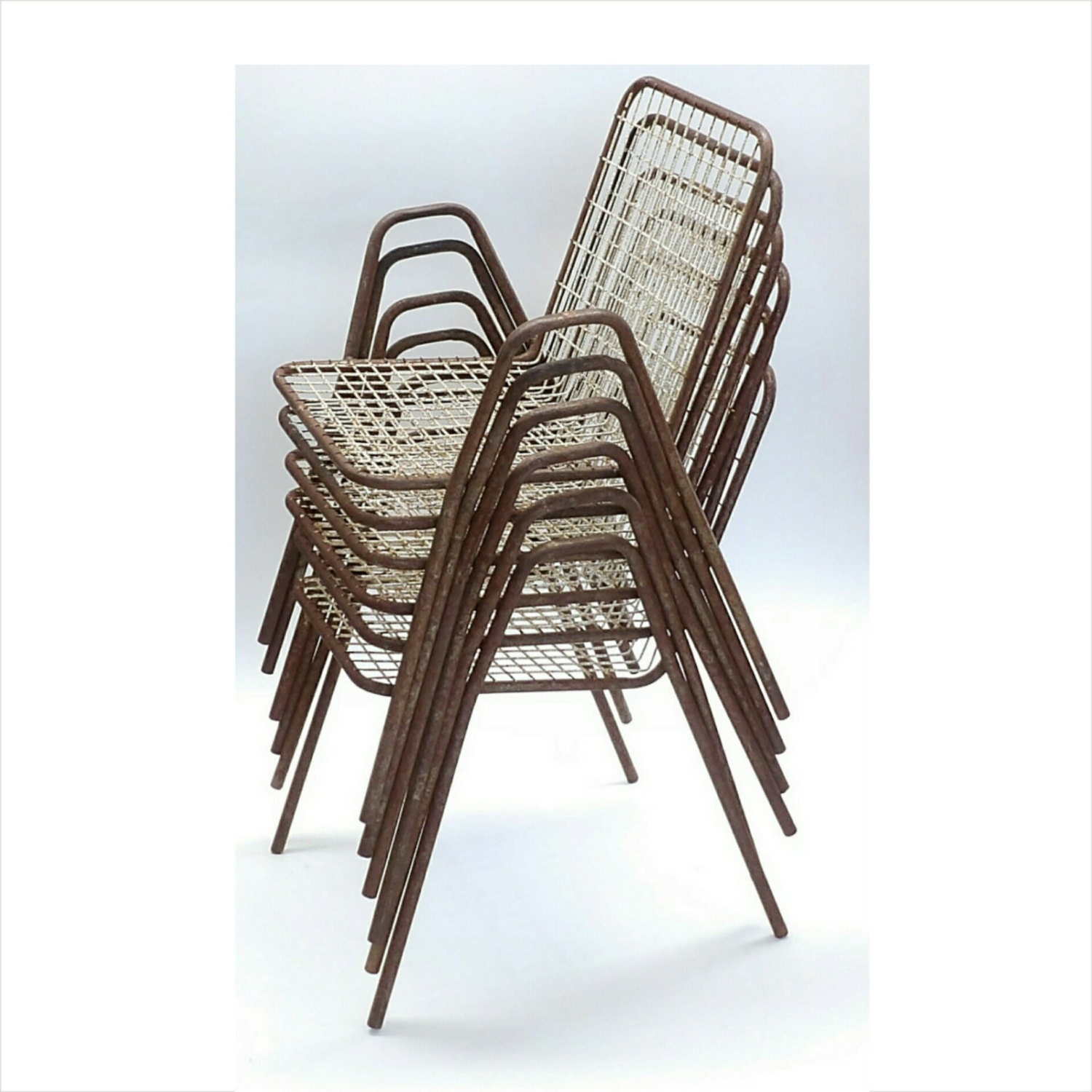 Vintage Emu Italian Outdoor Furniture Metal Made In Italy Patio Chairs Stacking Set Of