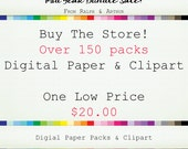 SALE Digital Paper & Clip Art Bundle  - 150+ Packs - Digital Scrapbook Paper - Clipart -  for Personal and Commercial - Instant Download