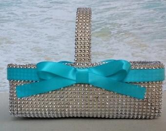 Bling Flower Girl Basket - Wedding - Rhinestone Silver Crystal Diamond Flowergirl - Ringbearer  Ring Bearer Pillow