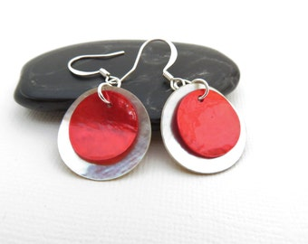 Red Shell Earrings - Christmas Earrings, Red Earrings, Double Shell Earrings, Red Mussel Shell Earrings, Beach Jewelry, Red Shell Jewelry