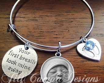 "Push Present, push gift - ""Your first breath took mine away"" - Your baby's photo, baby mama gift, baby bauble, gift for new mom, mommy"