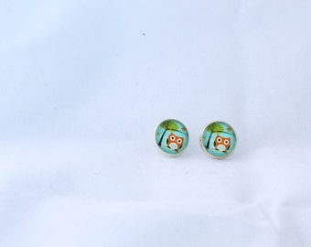 Owl earrings studs 12mm