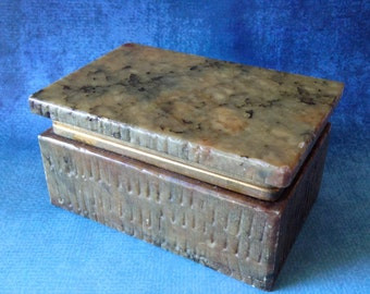 Vintage hand carved alabaster trinket box with hinged lid from Italy