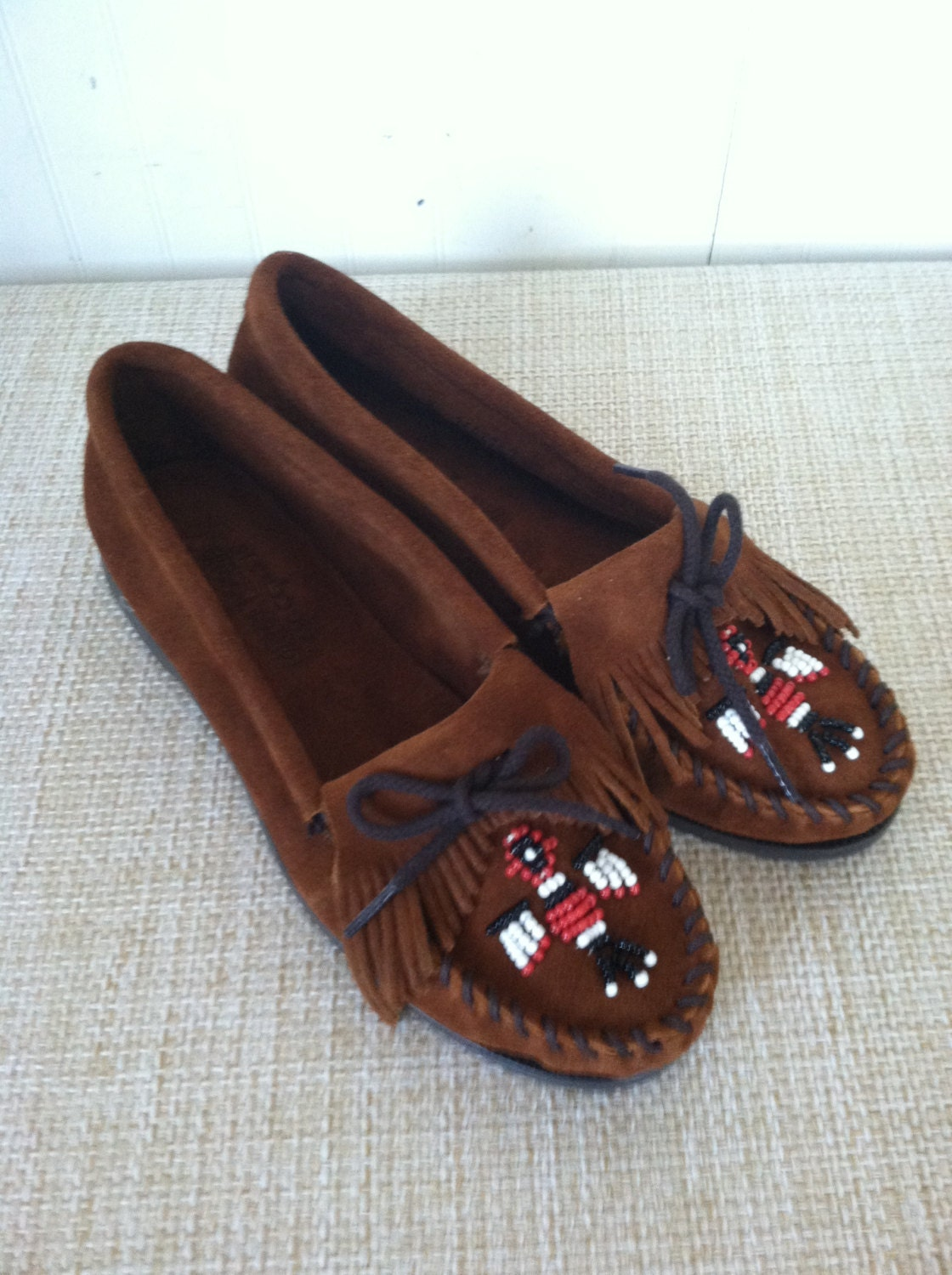 minnetonka beaded moccasins indian tribal brown suede fringed