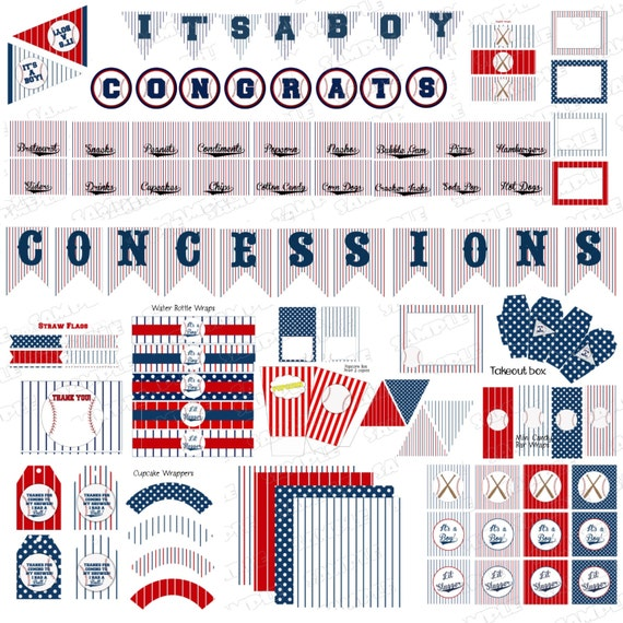 baseball baby shower decorations party printable party supplies