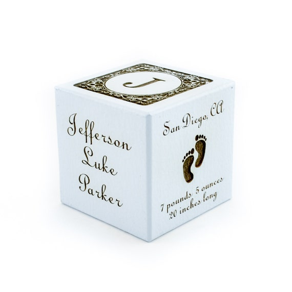 Baby Boy Gift Keepsake : Personalized baby boy gift new birth block