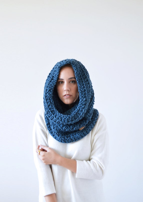 snood hooded cowl chunky crochet scarf knit cowl // by ...