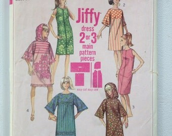 1966 Simplicity pattern # 6885 Misses size 12 Jiffy dress
