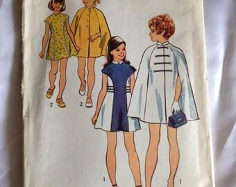 1973 Simplicity pattern # 5536 Child size 7, Girls Dress and Cape