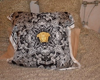 Authentic VERSACE Silk Fabric Scarf Pillow Black & White Gold Medusa