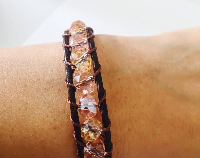 Leather bracelet, wrapping bracelet, crystal bracelet, leather wrap bracelet, beaded crystal bracelet, brown leather wrap bracelet