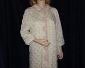 VTG SEARS Nylon Smooth & Shiny 1950's peignoir Cover Up LACY Robe sz 14 S-M