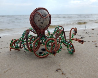 Octopus sculpture, unique octopus, beach house decor or bathroom decor, wire sculpture, octopus decor, unique octopus,wire wrapped art