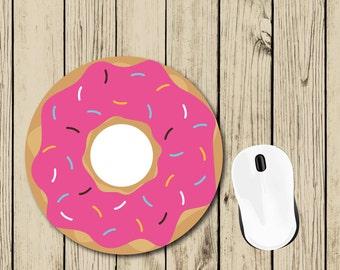 Pink Donut Mousepad - Donut Gift - Cute Mousepad - Student Gift - College Dorm Decor - Teacher Appreciation Gift - Boss Gift - Birthday Gift