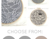 Peony embroidery pattern, embroidery kit, modern hand embroidery, DIY hoop art, floral needlecraft, easy embroidery, peony pattern