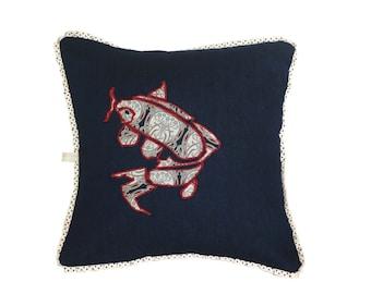 Appliqué cushion Appliqué Pillow - Denim Cushion-Denim Pillow - Koi Fish cushion cover - Koi Fish Pillow cover - Cushion cover -Pillow Cover