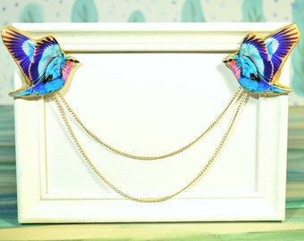 collar clip , collar tip , collar chain , swallow  brooch , double brooch , collar pin , collar brooch , cardigan clip , bird brooch
