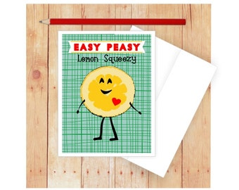 Easy Peasy Lemon Squeezy Card, Funny Card for Kids, You Got This Card, Encouragement Card, Dumpling, Lemon Art, Quirky Card, Notecard