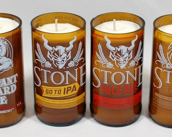 Stone IPA Soy Candles - Handcrafted from Recycled Beer Bottles