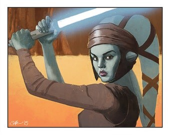 "Star Wars - Attack of The Clones - Jedi Master Aayla Secura colour art print 10""x8"""