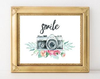 Camera Print 8x10 Instant Download Smile Camera Quote Art Print Antique Camera Art Print Watercolor Floral Camera Printable Art Photography