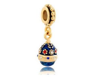 Faberge Bead, Sapphire Charm, Large Hole Bead, European Bead, Charm Bead, Charm Bracelet, European Charm, Big Hole Bead, Gold, Blue