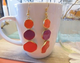 Warm Colored Tiered Dot Earrings
