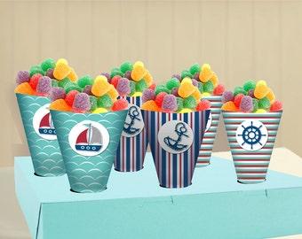 Nautical Birthday Party Theme - DIY treat cones - Printable  -  Instant Download