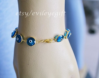 Gold Filled 925 Sterling Silver Blue Evil Eye Bracelet, Turkish Evil Eye, Greek Evil Eye, Evil Eye Turkey, Arrives in a white gift box!