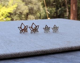 Lotus earrings posts. Sterling silver lotus earrings