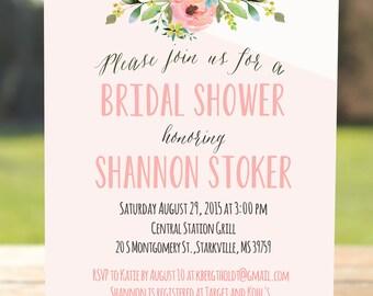 Unique bridal shower invitation, floral bridal shower invite printable, bridal invitation, bridal shower, Wedding Shower, Lingerie Party
