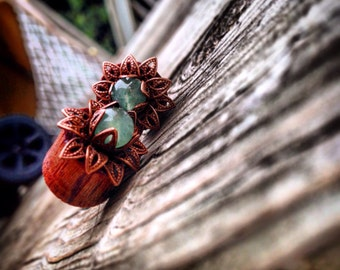 "Bloodwood Lotus Flower Plugs-Sizes00g;10mm)&7/16""(11mm)Stone/Formal/Expanders/Stretchers/Wood Plug Gauges/Organic/Tribal/Raw/Hippie/Hindue"