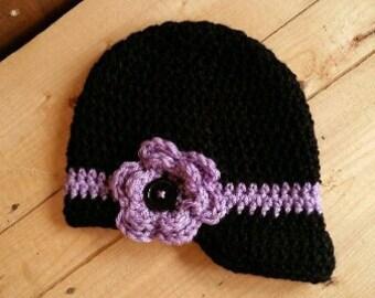 Newsboy hat, Brimmed hat, Newborn hat, Crochet hat, Girls newsboy, Toddler hat, Hat with bib