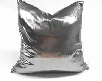 Free shipping/SHINY SILVER PILLOW Cover 20x20 inches-Square-Luxury pillow-Throw pillow-Decorative pillow-Accent pillow-Sofa pillow-Handmade