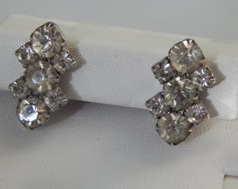 Vintage Clear Rhinestone Earrings, Vintage Screwback Rhinestone Earrings, Clear Rhinestone Earrings