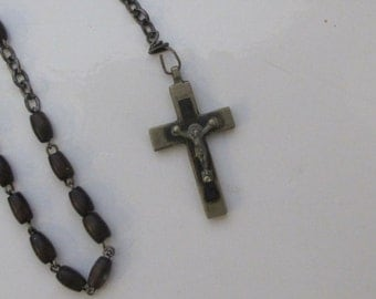 Vintage Wooden Rosary made in France-free shipping