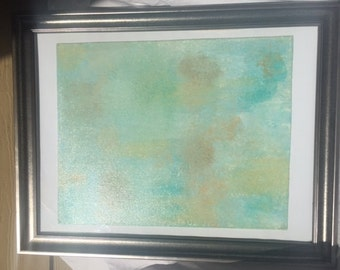 Silver Framed Ocean Acrylic Painting on Canvas in Silver Frame