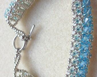 Beaded Swarovski Crystal Bracelet-Blue/Silver-8 in.