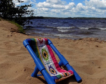 """American Girl Size Beach Chair is Royal Blue with  Reversible Fabric Seat for 18"""" Dolls"""
