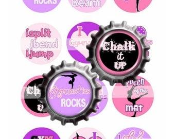 "Gymnastics 1"" Circle Bottlecap Image Sheet Digital File 12 images 4x6 300dpi JPEG file Girl YOU PRINT"