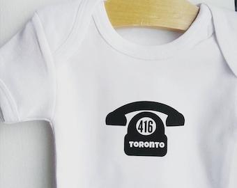 Toronto 416 Onesie / onesie / baby fashion / Toronto / ready to ship / bodysuit