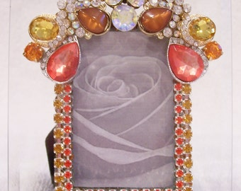 Jeweled Beveled Glass Picture Frame. Birthday Gift, Bridesmaid Gift, Wedding or Shower Gift.