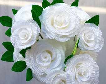 Crepe Paper Roses - white, handmade bunch of 12 roses - 35cm wired stems with leaves, beautiful for weddings or a gift