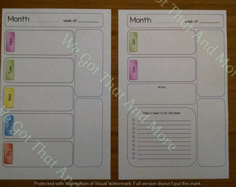 Week on 2 Page Undated - FC Classic, Arc Jr, Half Page Planner Insert - Unlined - Digital Download