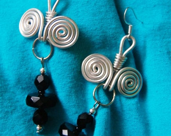 Black agate silver-plated copper long earrings with spiral swirl