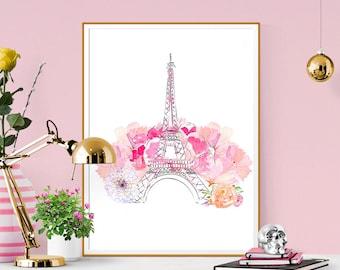 Fashion Print. Eiffel Tower Print. Paris Watercolor Artwork. Illustrated art. Beautiful high fashion wall art. Modern Home Décor.