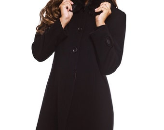 Womens black wool and cashmere coat with detachable faux fur collar / Womens wool caot / Winter coat